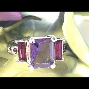 Purple & Pink Rhinestones Ring Women's Size 9